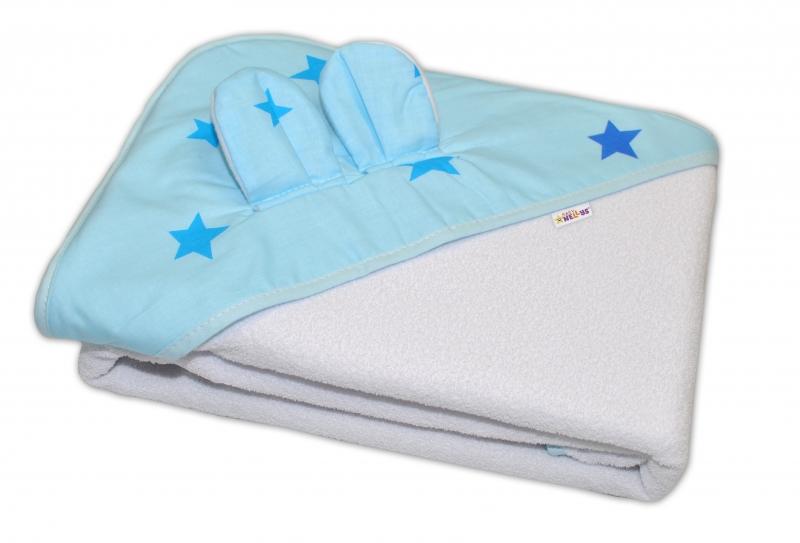 Detská termoosuška s uškami Baby Stars s kapucňou, 100x100 cm - biela, modré hviezdy, K19