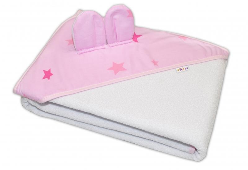 Detská termoosuška s uškami Baby Stars s kapucňou, 100x100 cm - biela, ružové hviezdy, K19
