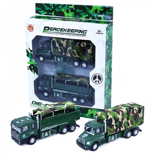 Sada auto vojenské kovové, 2 ks