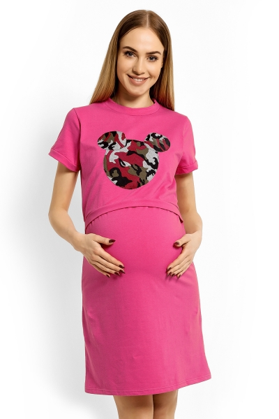 Tehotenská a dojčiace nočná košeľa Minnie - ružová