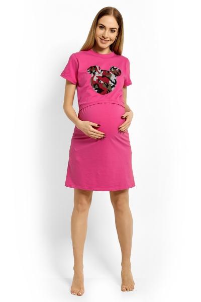 Be MaaMaa Tehotenská, dojčiace nočná košeľa Minnie - rúžová