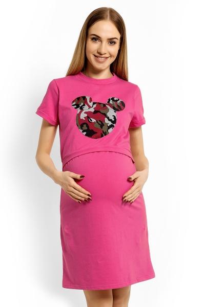 Be MaaMaa Tehotenská, dojčiace nočná košeľa Minnie, L/XL - rúžová