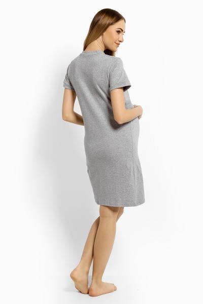 Tehotenská, dojčiace nočná košeľa Minnie - sv. sivý melír