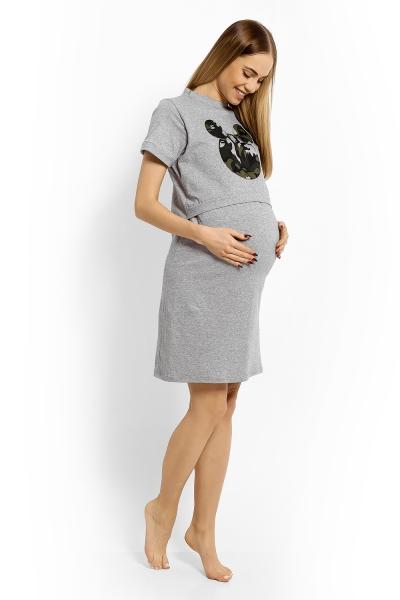 Be MaaMaa Tehotenská, dojčiace nočná košeľa Minnie, XXL - sv. sivý melír