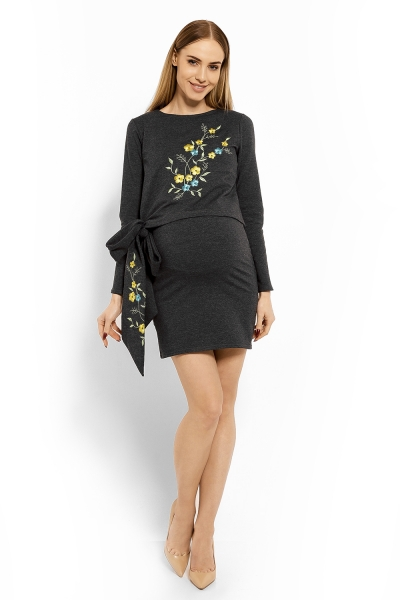 Elegantné tehotenské šaty, tunika s výšivkou a stuhou - grafit (dojčiace)
