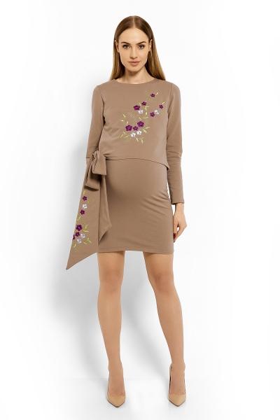Elegantné tehotenské šaty, tunika s výšivkou a stuhou - cappuccino (dojčiace)