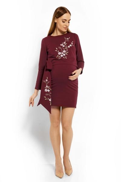 Elegantné tehotenské šaty, tunika s výšivkou a stuhou - bordo (dojčiace)