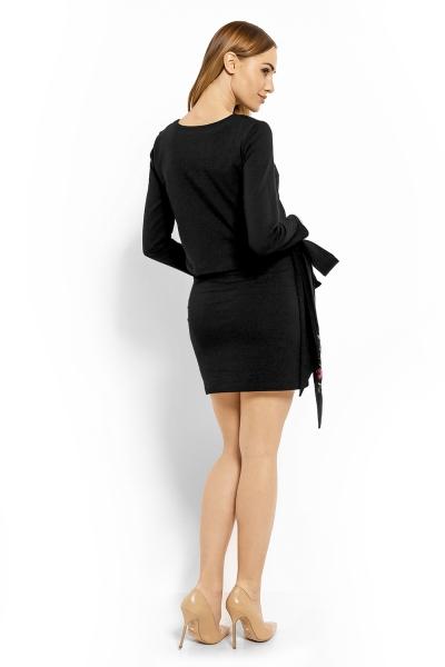 Elegantné tehotenské šaty, tunika s výšivkou a stuhou - čierne (dojčiace) veľ. XXL