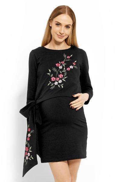 Be MaaMaa Elegantné tehotenské šaty, tunika s výšivkou a stuhou, XXL - bordo (dojčiace)