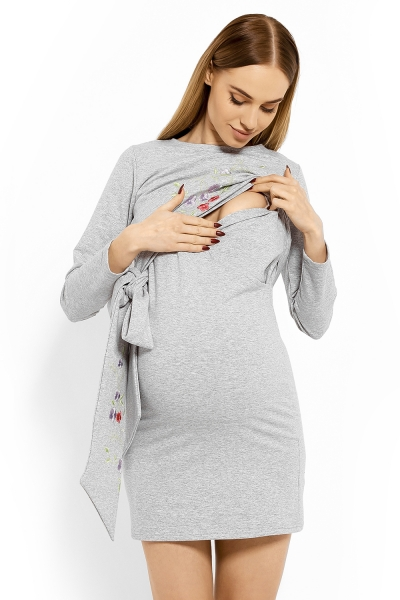 Elegantné tehotenské šaty, tunika s výšivkou a stuhou - jasno sivý (dojčiace)