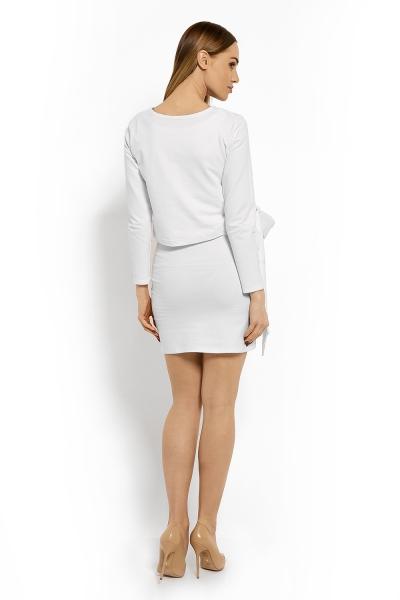 Elegantné tehotenské šaty, tunika s výšivkou a stuhou - biele (dojčiace)