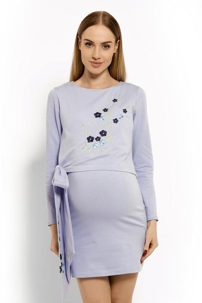 Elegantné tehotenské šaty, tunika s výšivkou a stuhou - jasno modré (dojčiace)