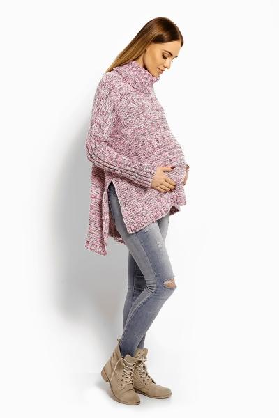 Voľný vlnený tehotenský, dojčiaci pulóver, pončo ALLY - ružový, šedý melír