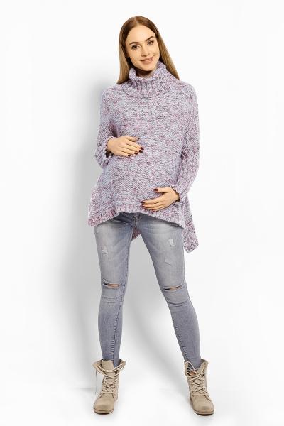 Voľný vlnený tehotenský, dojčiaci pulóver, pončo ALLY - šedý, farebný melír s nádychom modrej