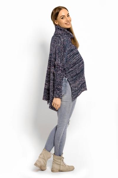 Voľný vlnený tehotenský, dojčiaci pulóver, pončo ALLY - granátový melírek