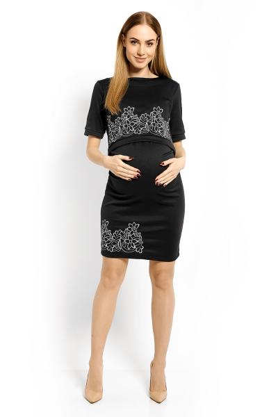 Elegantné tehotenské šaty, tunika s výšivkou,kr. rukáv,XXL- grafit, siva nitka (dojčiace)-XXL (44)