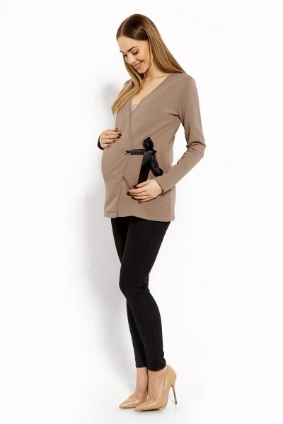 Zavinovacia tehotenská, dojčiaca blúzka - cappuccino