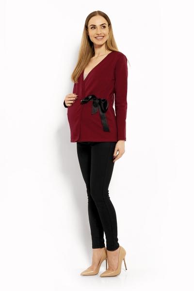 Zavinovacia tehotenská, dojčiaca blúzka - bordo