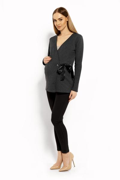 Zavinovacia tehotenská, dojčiaca blúzka - grafit