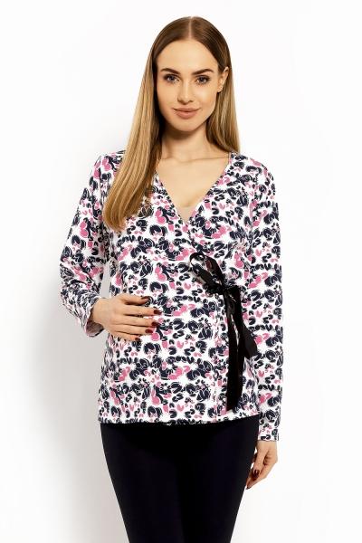 Be MaaMaa Zavinovacia tehotenská, dojčiace blúzka Printy Cleo,  L/XL-#Velikosti těh. moda;L/XL