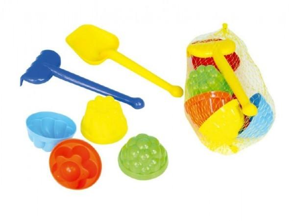 Teddies Sada na písek plast lopatka, hrabičky, 4ks bábovky v síťce