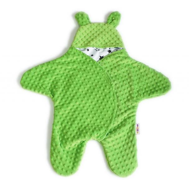 Baby Nellys Fusak, spacáček do autosedačky alebo kočíka s uškami, Minky - sv. zelený