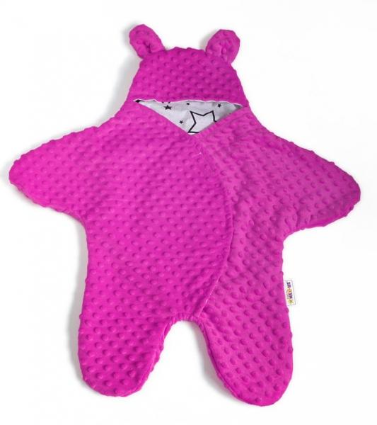 Fusak, spacáček, kombinézka do autosedačky alebo kočíka uškami Minky - syto růžová