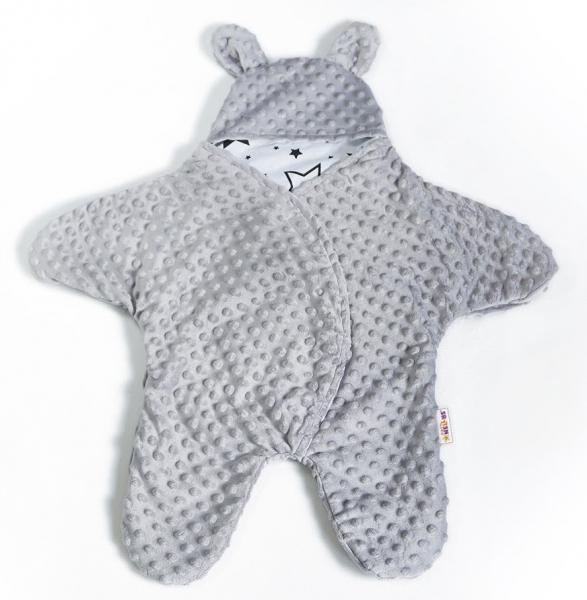Baby Nellys Fusak, spacáček, kombinézka do autosedačky alebo kočíka uškami Minky - sivý