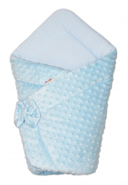Luxusná zavinovačka s mašľou Minky Baby Duo - modrá