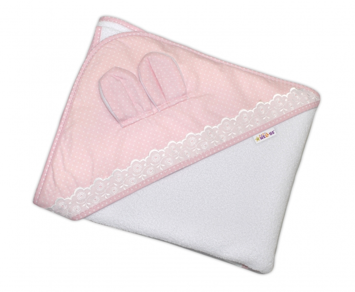 Detská termoosuška s uškom, kapucňou a krajkou Baby Bodky 100 x 100 cm  - biela/ružová