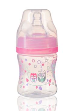 BabyOno Antikoliková fľaštička so širokým hrdlom - ružová