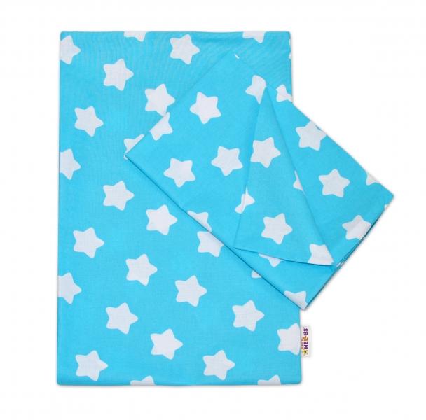 Baby Nellys Bavlnené obliečky 140 x 200/70x90 - Sweet Stars - tyrkysová