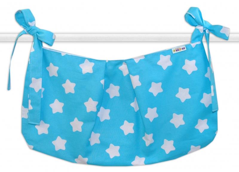 Baby Nellys Vreckár na hračky Sweet Stars - tyrkysová
