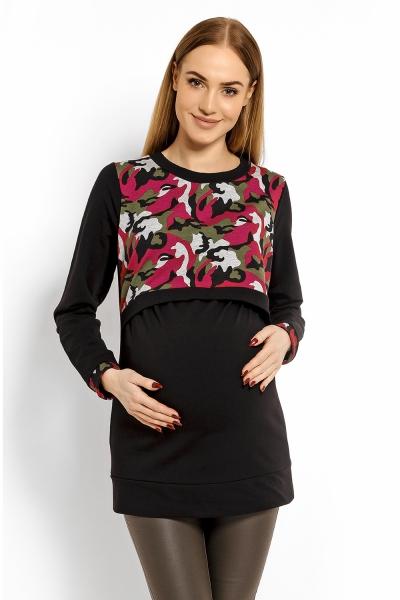 Be MaaMaa Tehotenská, dojčiaca mikina ARMY - čierna s červenou, XXL