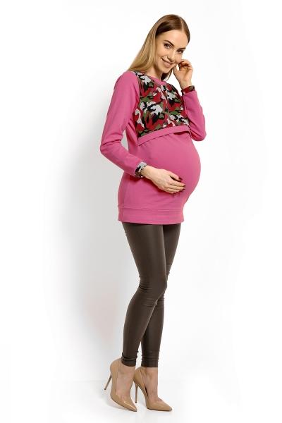 Tehotenská a dojčiaca mikina ARMY - ružová s červenou