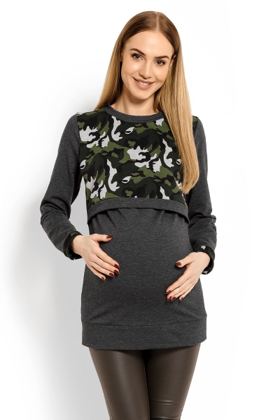 Tehotenská, dojčiaca mikina ARMY - grafit se zelenú, XXL-XXL (44)