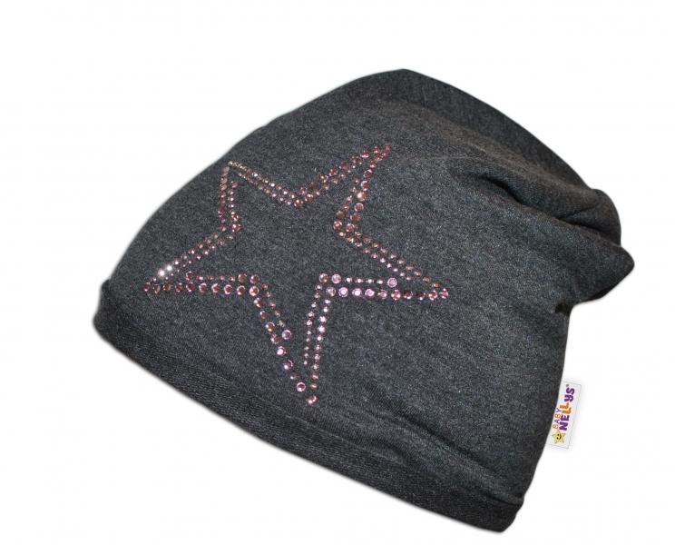 Bavlnená čiapočka Baby Nellys ® - Hvezdička/ružový lem-48/52 čepičky obvod