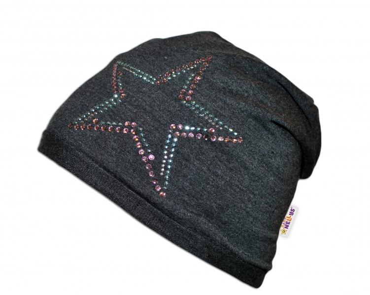 Bavlnená čiapočka Baby Nellys ® - Hvezdička/dúhový lem
