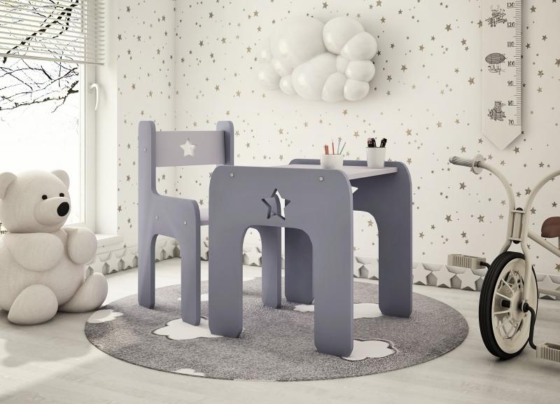 Sada nábytku Star - Stôl + stoličky - sivá