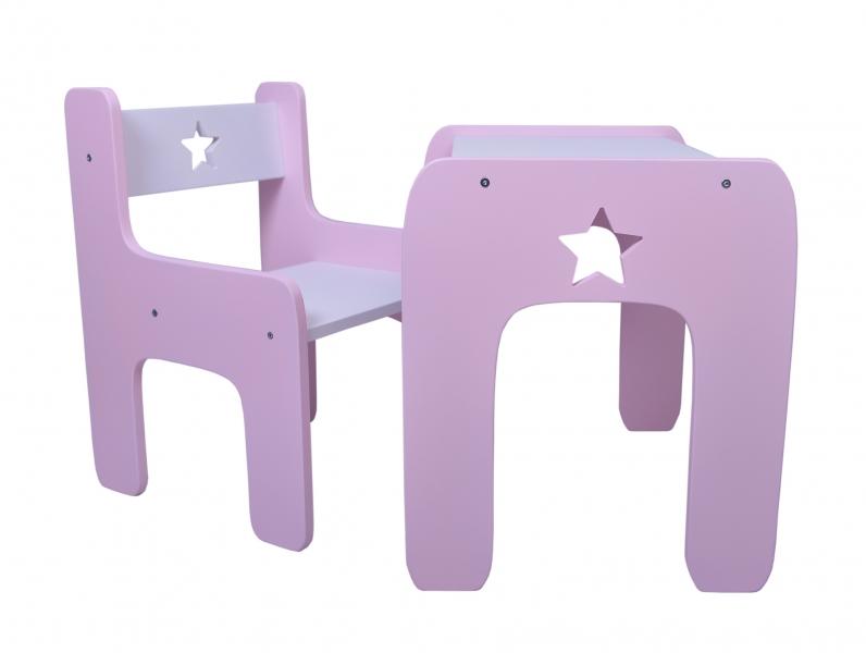 Sada nábytku Star - Stôl + stoličky - rúžová s bielou