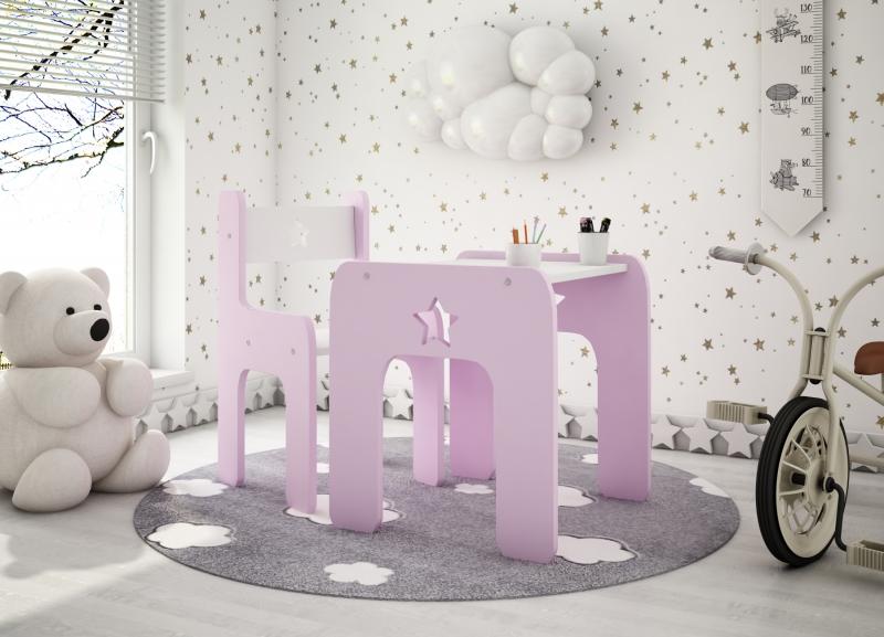 Sada nábytku Star - Stôl + stoličky - ružová s bielou