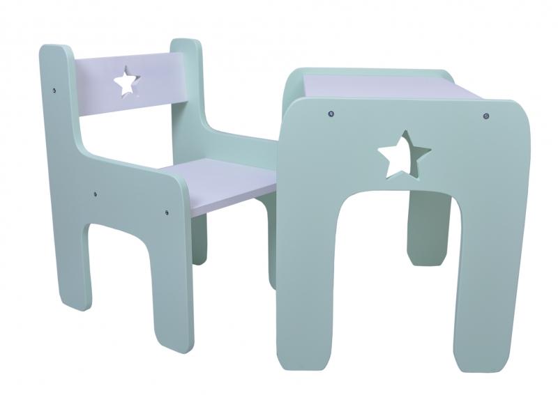 Sada nábytku Star - Stôl + stoličky - máta s bielou