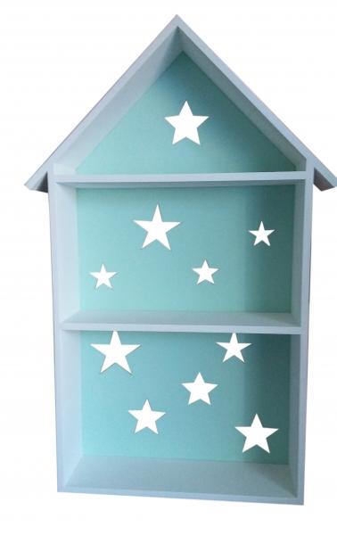 NELLYS Polička na stenu Star - domček biely se zelenú  D19