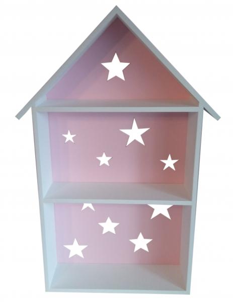 NELLYS Polička na stenu Star - domček biely s růžovou  D19