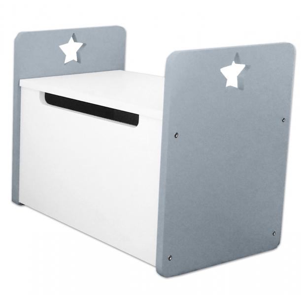 NELLYS Box na hračky, truhla Star - šedá, biela  D19