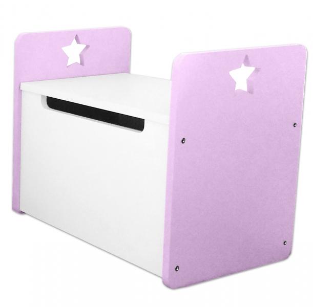 Box na hračky, truhla Star - ružová, biela