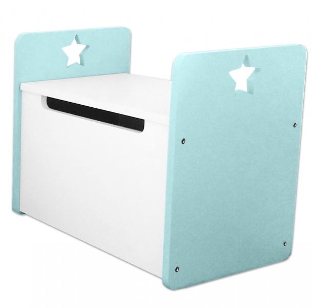 Box na hračky, truhla Star - zelená-mátová, biela