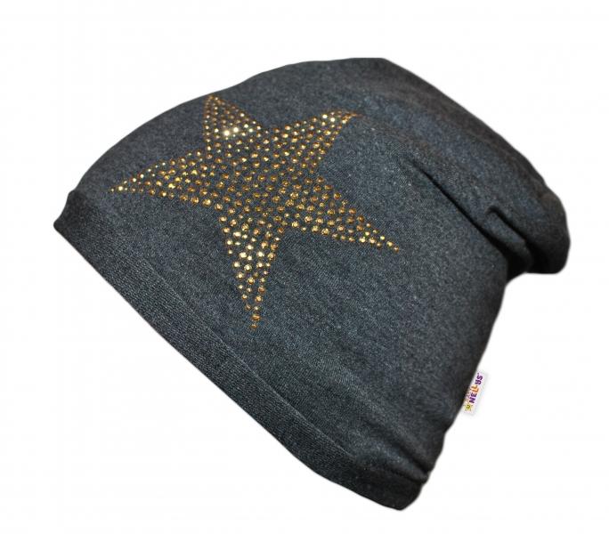 Bavlnená čiapočka Baby Nellys ® - Hviezdička zlatá, veľ. 48-54 cm