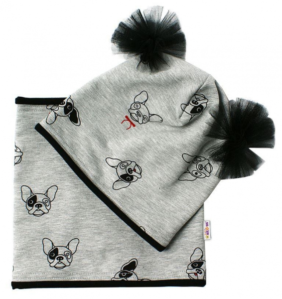 Bavlnená sada čiapočka s tutu a nákrčník Psíci - šedá, čierna, 5-10rokov-50/52 čepičky obvod