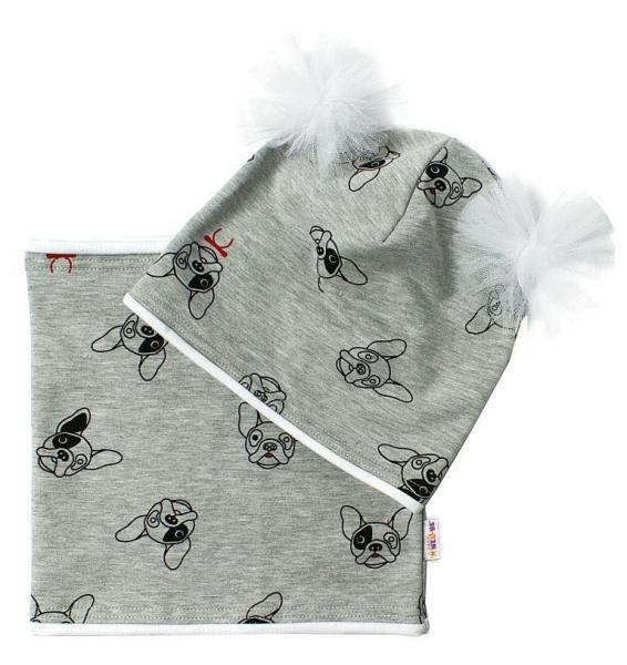 Bavlnená sada čiapočka s tutu a nákrčník Psíci - šedá, ekri vel. 5-10let-50/52 čepičky obvod